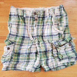 Abercrombie & Fitch Cargo Shorts 34 Green Plaid
